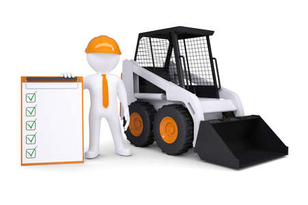 construction paper: 3d white man near the truck  Isolated render on a white background Stock Photo