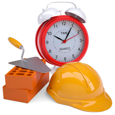 Bricks, hard hat and alarm clock  Isolated render on a white background photo