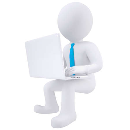illuminative: 3d white man sitting with a laptop  Isolated render on a white background