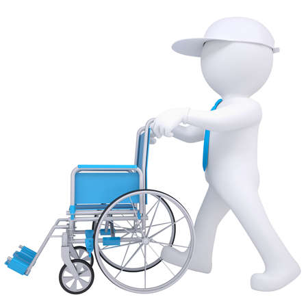 3d white man holding a wheelchair  Isolated render on a white background photo