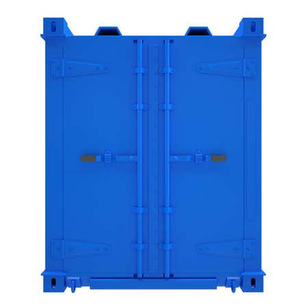 seafreight: Contenedor azul render aislado en un fondo blanco Foto de archivo
