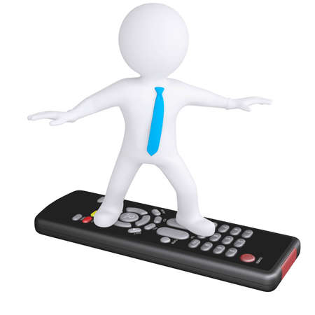 tele communication: 3d white man standing on the remote  Isolated render on a white background Stock Photo