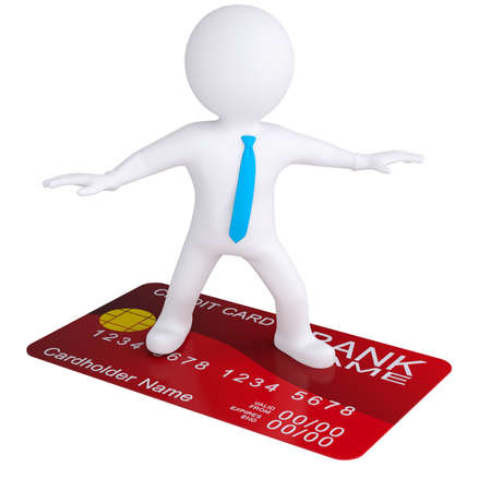 tarjeta de credito: 3d hombre blanco de pie sobre una tarjeta de cr�dito render aislado en un fondo blanco
