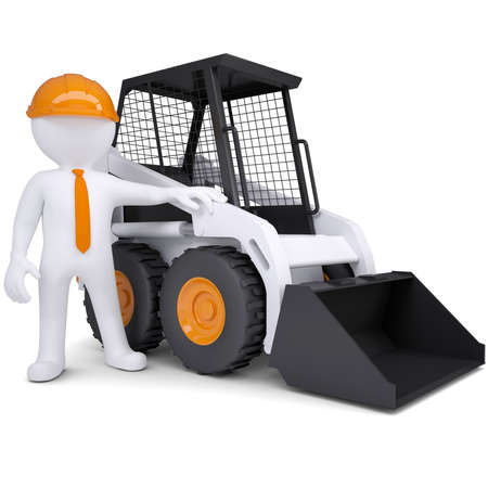 3d white man near the truck  Isolated render on a white background photo