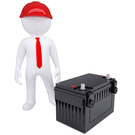 car battery: 3d white man next to the car battery  Isolated render on a white background