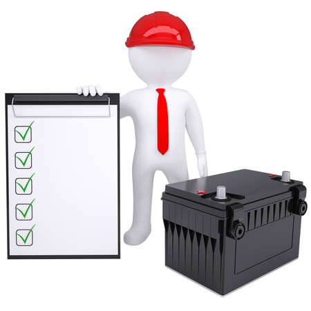 3d white man next to the car battery  Isolated render on a white background photo