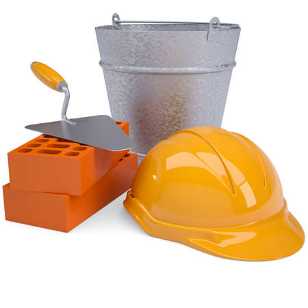 concrete block: Building bricks, hard hat, trowel and a bucket  Isolated render on a white background Stock Photo