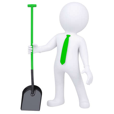 shovel: 3d white man standing and holding a shovel  Isolated render on a white background
