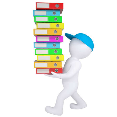 3d white man carries stack of office folders  Isolated render on a white background photo