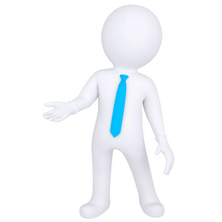 humanoid: 3d white man standing  Isolated render on a white background