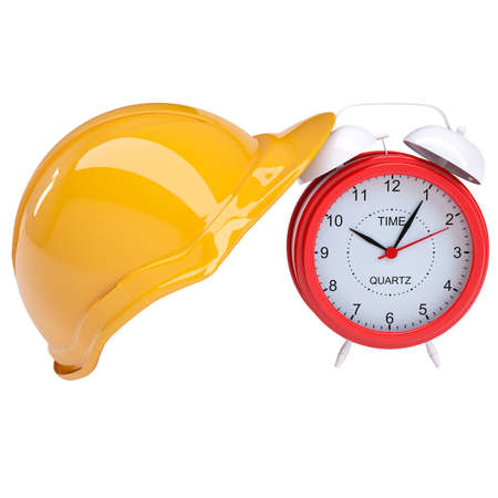 Red alarm and yellow helmet  Isolated render on a white background photo