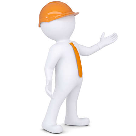 3d white man in helmet points hand  Isolated render on a white background photo