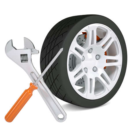 Wheel, wrench and a screwdriver  Isolated render on a white background Stock Photo - 18814155
