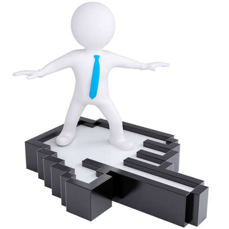 3d white man flying on computer hand  Isolated render on a white background photo