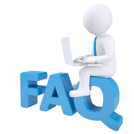 3d white man with laptop sitting on the word FAQ  Isolated render on a white background photo