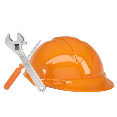 carpenter tools: Helmet, wrench and a screwdriver  Isolated render on a white background