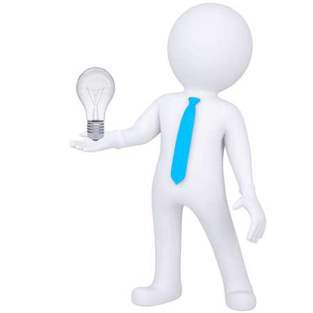 finding: 3d hombre blanco que sostiene una bombilla aislada render de luz sobre un fondo blanco