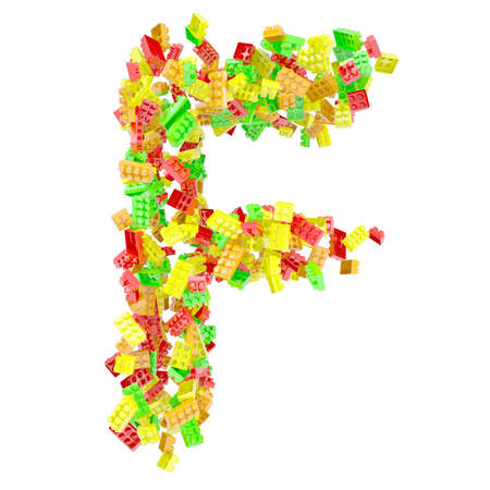 The letter F is made up of children s blocks  Isolated render on a white background photo