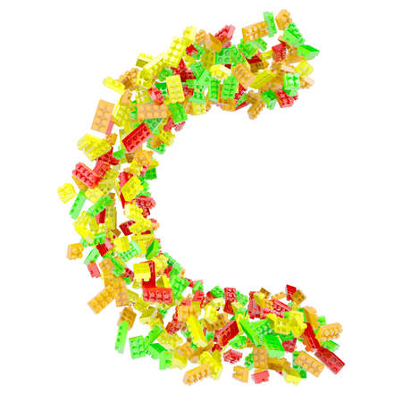 The letter C is made up of children s blocks  Isolated render on a white background photo