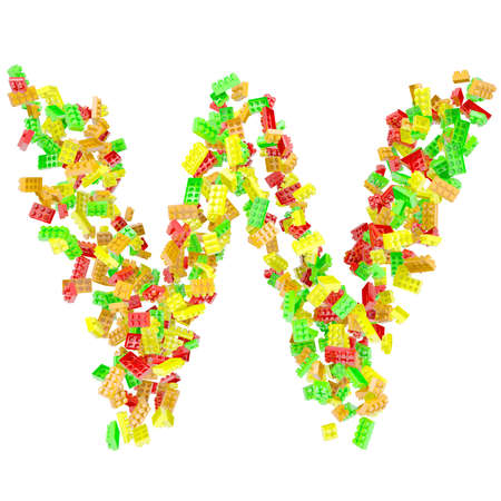 The letter W is made up of children s blocks  Isolated render on a white background photo