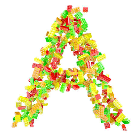 The letter A is made up of children s blocks  Isolated render on a white background photo
