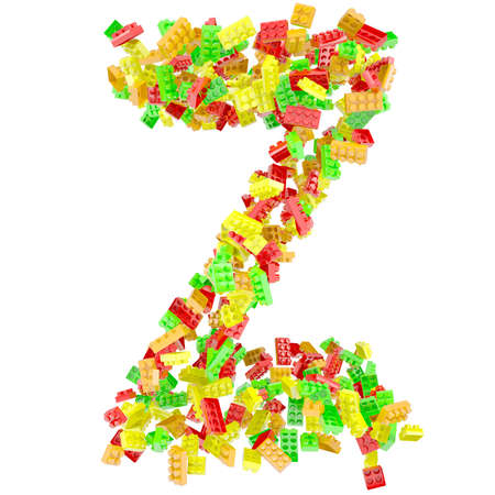 The letter Z is made up of children s blocks  Isolated render on a white background photo