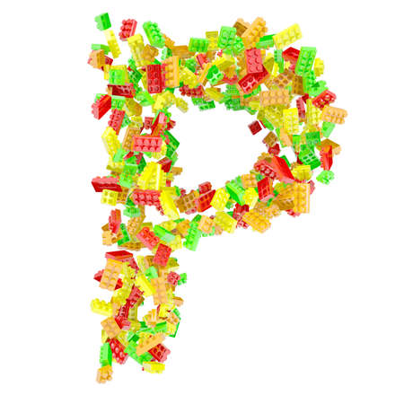 The letter P is made up of children s blocks  Isolated render on a white background photo