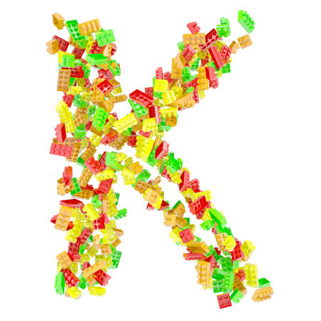 The letter K is made up of children s blocks  Isolated render on a white background photo