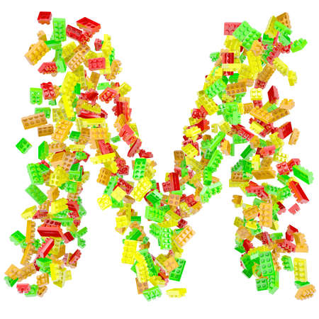 The letter M is made up of children s blocks  Isolated render on a white background photo