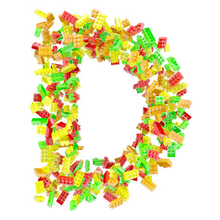 The letter D is made up of children s blocks  Isolated render on a white background photo