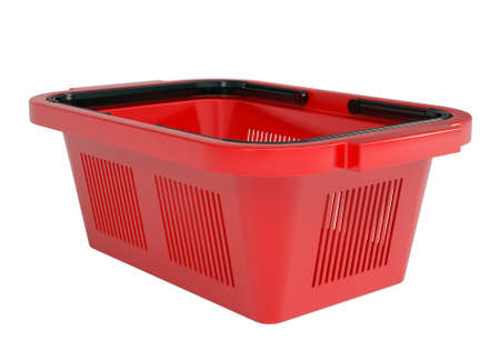 Red shopping basket  Isolated render on a white background Stock Photo - 18879911