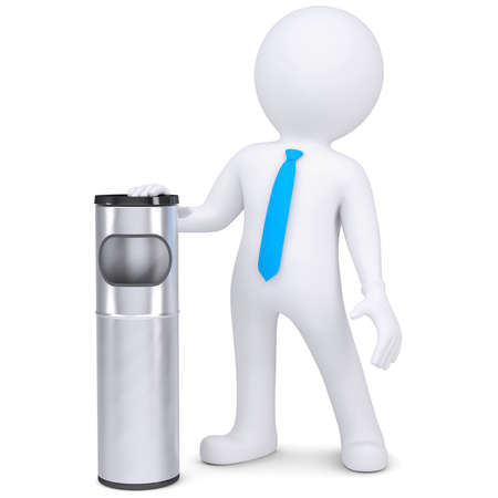 3d white man with a trash can  Isolated render on a white background photo
