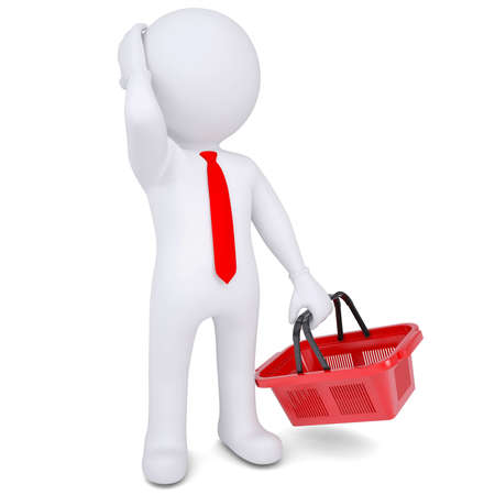 Pensive 3d white man with a shopping basket  Isolated render on a white background Stock Photo - 18879898