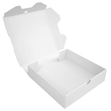 Open a box of pizza is empty  Isolated render on a white background photo