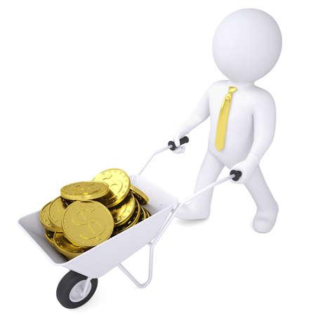 carretilla: 3d hombre blanco lleva una carretilla de monedas de oro render aislado en un fondo blanco