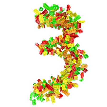 The number is made up of children s blocks  Isolated render on a white background photo