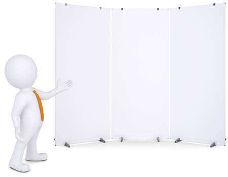 3d white man shows up on white poster  Isolated render on a white background photo