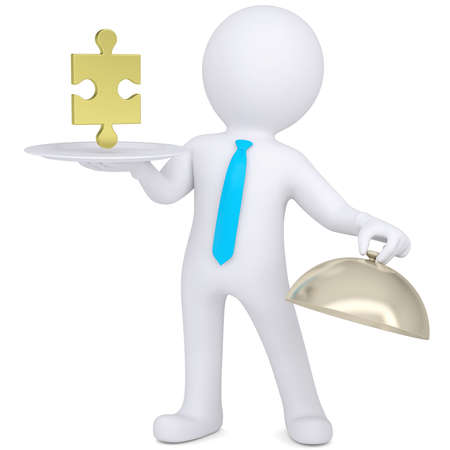 3d man holding a white plate with a gold puzzle  Isolated render on a white background photo