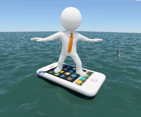 3d white man floating on a smartphone in the sea  Against the background of the blue expanse of the sea and sky photo