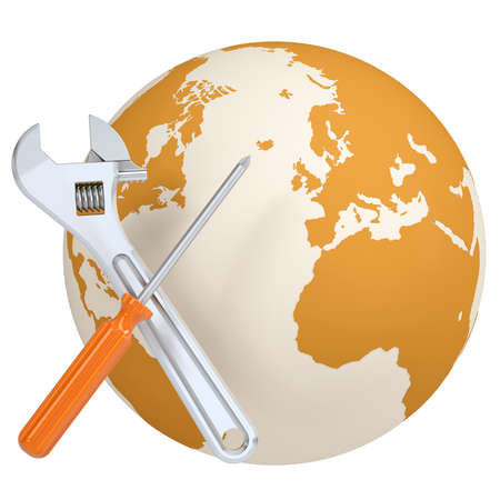 Screwdriver and wrench on the background of the planet earth  Isolated render on a white background photo