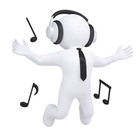 3d white man with headphones in the jump  Isolated render on a white background photo