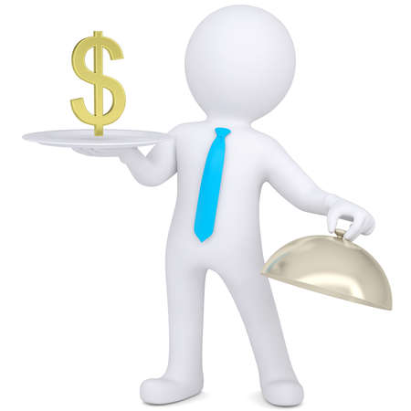 3d man holding a white plate with a gold euro sign  Isolated render on a white background photo