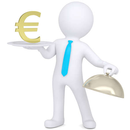 3d man holding a white plate with a gold dollar sign  Isolated render on a white background Stock Photo - 18935411