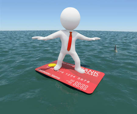 3d white man floating on a credit card in the sea  Against the background of the blue expanse of the sea and sky Stock Photo - 18935454