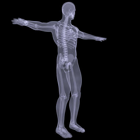X-ray of man  Render on a black background photo