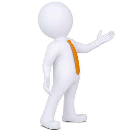 puppet show: 3d white man points hand  Isolated render on a white background