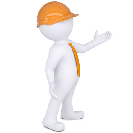 little business man: 3d white man in helmet points hand  Isolated render on a white background