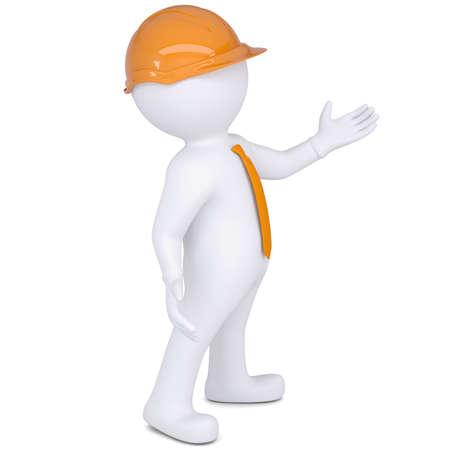 little business man: Hombre blanco 3d render en mano casco puntos aislados sobre un fondo blanco