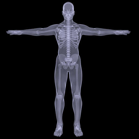 x xray: X-ray of man  Render on a black background