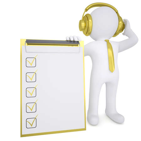 3d white man in gold headphones keeps checklist  Isolated render on a white background photo